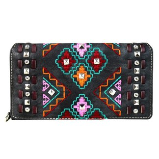 Montana West Clutch Style Secretary Wristlet Wallet Black Tribal Embroidery