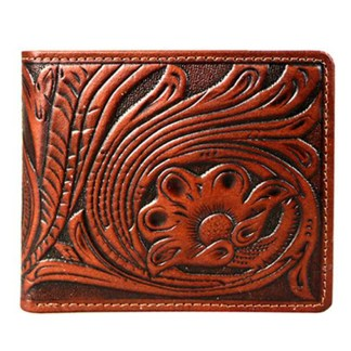 Montana West Genuine Leather Tooled Men's Wallet Brown Vintage w charger cord