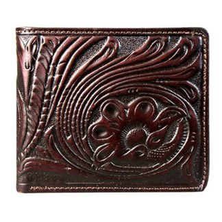 Montana West Genuine Leather Tooled Men's Wallet Coffee Vintage w charger cord