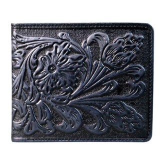 Montana West Genuine Leather Tooled Men's Wallet Black Floral w charger cors