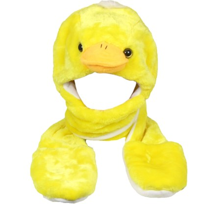 Silver Fever® Plush Soft Animal Beanie Hat w/ Built-In Mittens Paws Duck