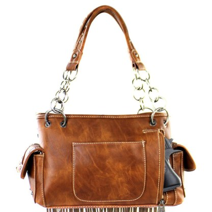 Montana West Western Bling Collection Satchel Handbag Coffee Fringed Concealed Carry