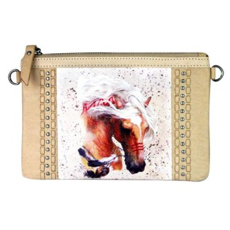 Montana West Genuine Leather Clutch Handbag Cowboy Pictures Tan Rodeo Collection 2