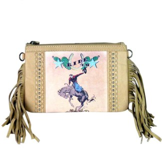 Montana West Genuine Leather Clutch Handbag Cowboy Pictures Tan Rodeo Collection 7