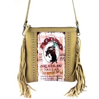 Montana West Genuine Leather Handcrafted Crossbody Handbag Tan Rodeo Collection 4