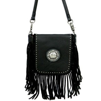 Montana West Genuine Leather Handcrafted Crossbody Handbag Black Berry Concho & Fringe