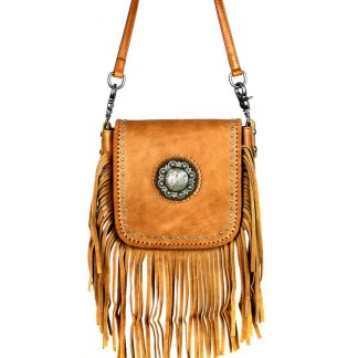 Montana West Genuine Leather Handcrafted Crossbody Handbag Brown Berry Concho & Fringe