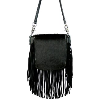 Montana West Genuine Leather Handcrafted Crossbody Handbag Black Hair On Fringe