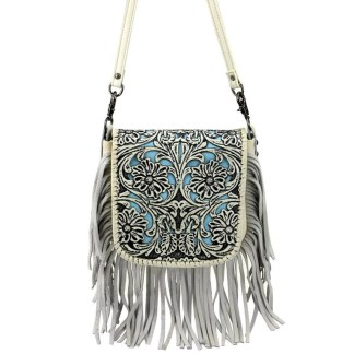 Montana West Genuine Leather Handcrafted Crossbody Handbag Beige Tooled Fringe