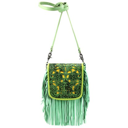 Montana West Genuine Leather Handcrafted Crossbody Handbag Lime Tooled Fringe