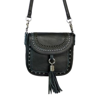 Montana West Genuine Leather Handcrafted Crossbody Handbag Black Flap w Tussle