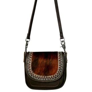 Montana West Genuine Leather Handcrafted Crossbody Handbag Coffee Hair On Flap