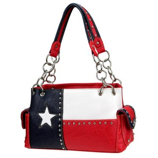 Montana West Western Bling Collection Satchel Handbag  Red Texas Pride Concealed Carry