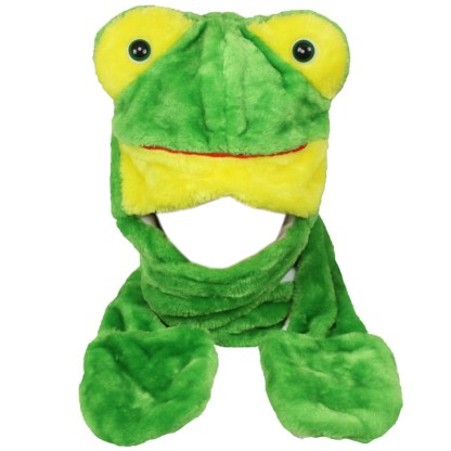 Silver Fever® Plush Soft Animal Beanie Hat with Built-in Earmuffs, Scarf, Gloves Frog