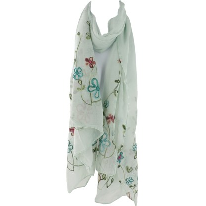 SILVERFEVER Floral Embroidery Light Scarf Shawl Wrap - Pansies on Blue