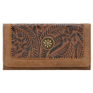 American West Bandana Ladies By-Fold Wallet   M Brown Guns & Roses