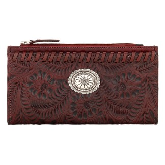 American West Leather Ladies' Tri-Fold French Wallet  Distressed Crimson