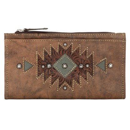 """American West Leather Ladies' Tri-Fold French Wallet  Charcoal Chestnut Brown Turquoise """""""