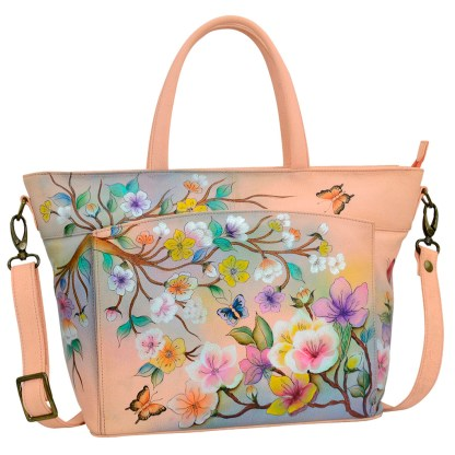 Anuschka RFID Organizer Tote Handbag Handpainted Leather Japanese Garden