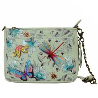 Anuschka  RFID Crossbody Organizer Handbag Handpainted Leather Wondrous Wings