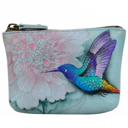 Anuschka Genuine Leather Coin Zip-Up Pouch Hand Painted Rainbow Birds
