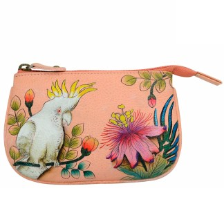 Anuschka Hand Painted Genuine Leather Medium Coin Purse Cockatoo Sunrise
