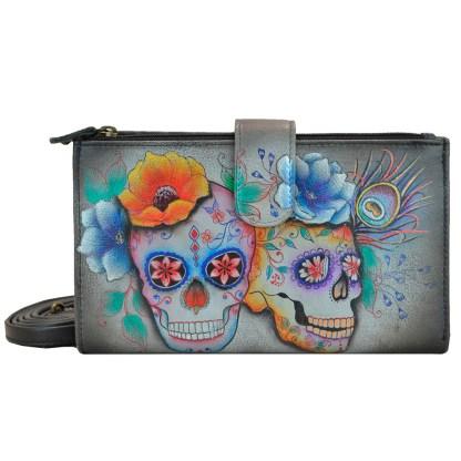 Anuschka Leather Large Smart Phone Case & Wallet Bag Calaveras de Azucar