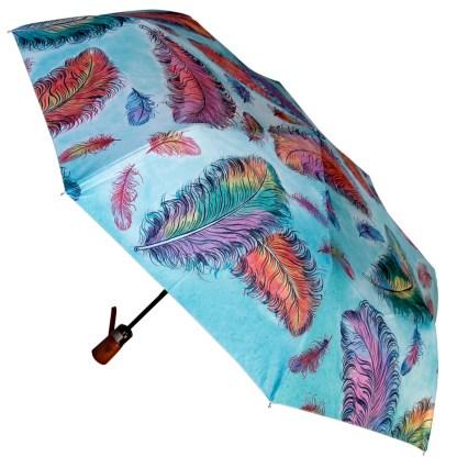 "Anuschka Art Foldable Umbrella 42"" Canopy Coverage Rain or Sun UV Protection Windproof  Floating Feathers"