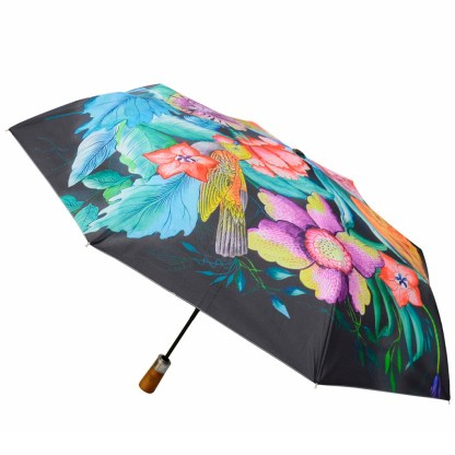 "Anuschka Art Foldable Umbrella 42"" Canopy Coverage Rain or Sun UV Protection Windproof  Vintage Bouquet"