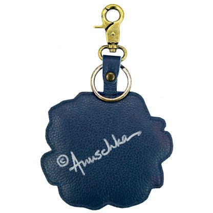 Anuschla Leather Handpainted Key Chain Purse Charm  Magnolia Melody