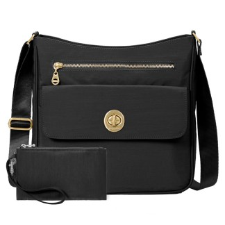 Baggallini Antalya Top Zip Flap Crossbody Bag , Black