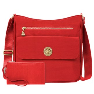 Baggallini Antalya Top Zip Flap Crossbody Bag , Hibiscs