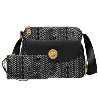 Baggallini Provence Crossbody Purse, BW Illusion Print