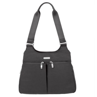 Baggallini Triple Entry Satchel with RFID Wristlet, Charcoal