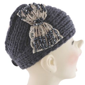 Silver Fever® Women Chunky Knitted Headband  Hair Band Head Wrap Earmuff Charcoal with Floral Bow