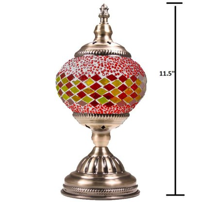 Silver Fever Handcrafted Mosaic Turkish Lamp -Moroccan Glass - Table Desk Bedside Light- Bronze Base- - Red Yellow Lines