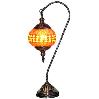 Silver Fever Handcrafted Mosaic Turkish Lamp Moroccan Glass Table Desk Bedside Light- Swan Neck - Red Yellow Lines