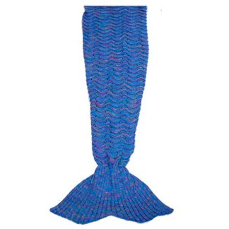 SILVERFEVER Mermaid Tail Blanket, SILVEREFEVER Handmade High Density Thick Mermaid Blanket, Soft Warm for All Seasons, Sweet Gift - Blue Fish Scale KnitSILVEREFEVER Handmade High Density Thick Mermaid Blanket, Soft Warm for All Seasons, Sweet Gift - Blue