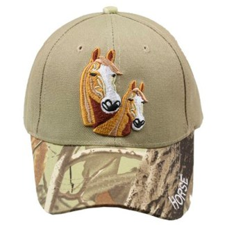 Silver Fever® Classic Baseball Hat 100% Adjustable Unisex Trucker Cap - Made to Last - 2 Horses Camo