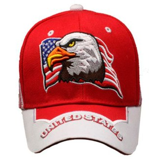 Silver Fever® Classic Baseball Hat 100% Adjustable Unisex Trucker Cap - Made to Last -- Red w United States Flag