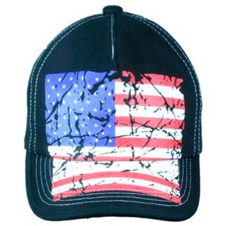 Silver Fever® Classic Baseball Hat 100% Adjustable Unisex Trucker Cap - Made to Last -- Black Vintage American Flag
