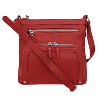 SILVERFEVER Genuine Leather 2 Zip Crossbody  Traveler Handbag Purse Red