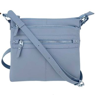 SILVERFEVER Genuine Leather 2 Zip Crossbody  Traveler Handbag Purse Grey