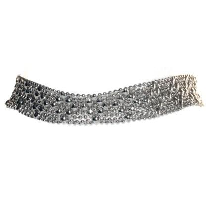 Sergio Gutierrez Liquid Metal Argyle Diamond Pattern Flexible Choker Double Bracelet