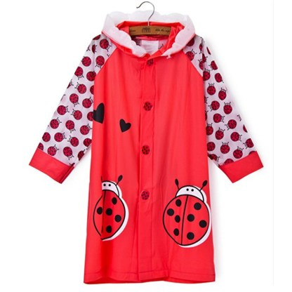 SILVERFEVER Rain Coat Kids Cartoon Characters Thick Raincoat Rain Poncho For Girls Boys With School Bag Cover - Red Lady Bug