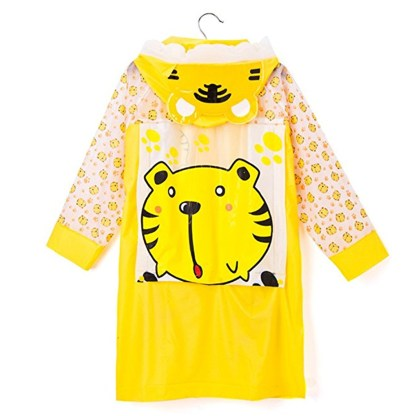 SILVERFEVER Rain Coat Kids Cartoon Characters Thick Raincoat Rain Poncho For Girls Boys With School Bag Cover - Yellow Tiger
