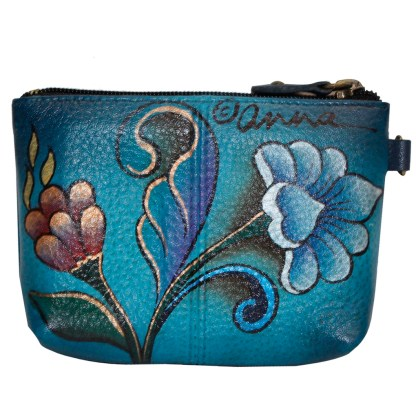 Anna by Anuschka Leather Medium Coin Pouch Wallet - Portuguese Parrot Denim