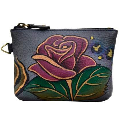 Anna by Anuschka Leather Medium Coin Pouch Wallet - Rose Safari Grey