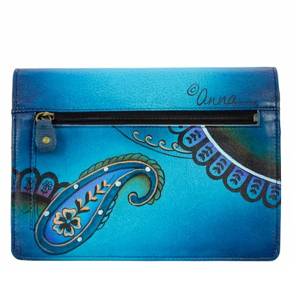 Anna by Anuschka Leather Wallet - Flap Closure - Cross Body Removable Strap Denim Paisley Floral