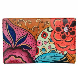 Anna by Anuschka Leather By Fold Wallet Clutch Tribal Potpourri